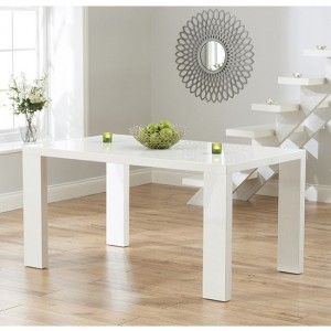 Metz Large Wooden Dining Table In White High Gloss
