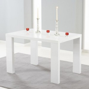 Metz Wooden Dining Table In White High Gloss