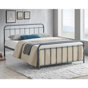 Miami Metal Double Bed In Grey