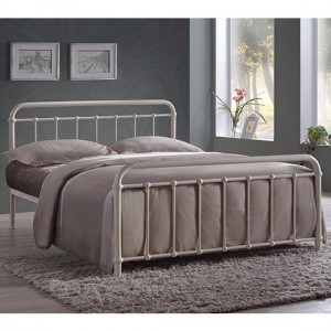 Miami Metal King Size Bed In Ivory