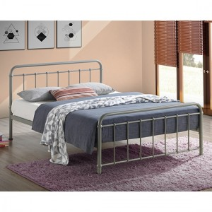 Miami Metal King Size Bed In Pebble