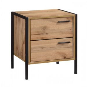 Michigan Wooden Bedside Cabinet In Oak Effect With 2 Drawers