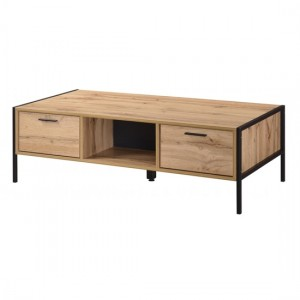 Michigan Wooden Coffee Table In Oak Effect With 2 Drawers