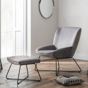 Mila Velvet Upholstered Accent Chair And Stool In Grey