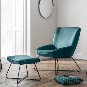 Mila Velvet Upholstered Accent Chair And Stool In Teal