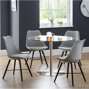 Milan Clear Glass Dining Table With 4 Kari Grey Chairs