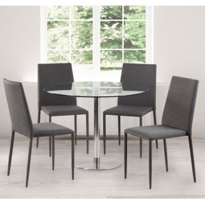 Milan Round Clear Glass Dining Table With 4 Jazz Grey Chairs
