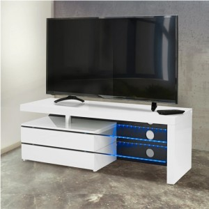 Milano LED Wooden TV Stand In White High Gloss