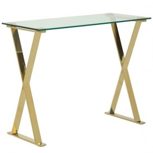Milo Clear Glass Computer Desk In Gold Strainlees Steel Frame