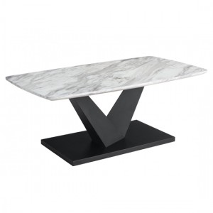 Milo Wooden Coffee Table In Marble Effect With Black Metal Base