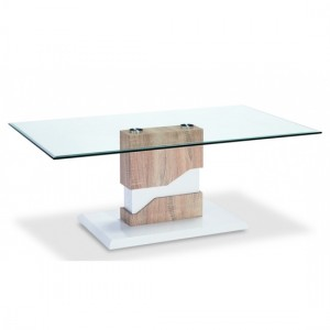 Milton Glass Coffee Table With White And Natural Wooden Base