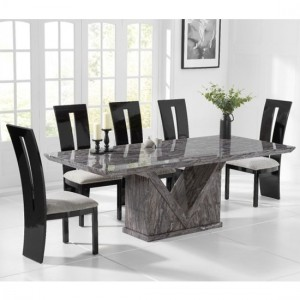 Minsk 220cm Grey Marble Rectangular Dining Table With 6 Valencie Black Chairs