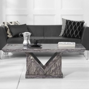 Minsk Marble Coffee Table In Grey High Gloss