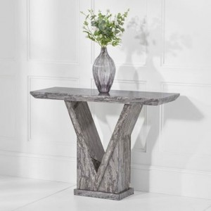 Minsk Marble Console Table In Grey High Gloss
