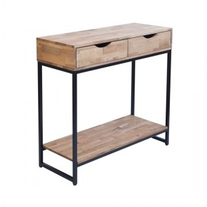 Mirelle Wooden Console Table In Solid Oak With Black Metal Frame