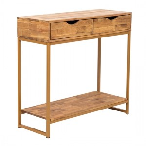 Mirelle Wooden Console Table In Solid Oak With Gold Metal Frame