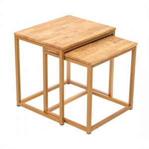 Mirelle Solid Oak Nest Of Tables With Gold Metal Frame