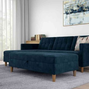Hartford Fabric Upholstered Storage Ottoman In Blue