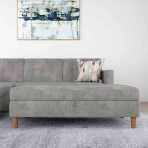 Hartford Fabric Upholstered Storage Ottoman In Grey