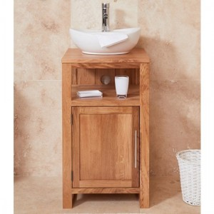 Mobel Bathroom 1 Door Single Round Sink Vanity Unit In Oak