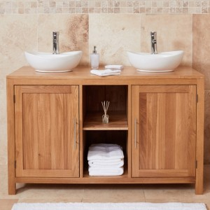 Mobel Bathroom 2 Doors Dual Round Sink Vanity Unit In Oak