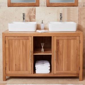 Mobel Bathroom 2 Doors Dual Square Sink Vanity Unit In Oak