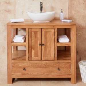 Mobel Bathroom 2 Doors Single Round Sink Vanity Unit In Oak
