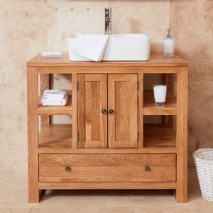 Mobel Bathroom 2 Doors Single Square Sink Vanity Unit In Oak