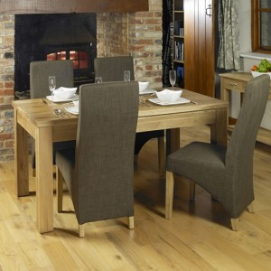 Mobel Extending Wooden Dining Table In Oak With 6 Grey Chairs