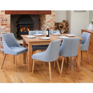 Mobel Extending Wooden Dining Table In Oak With 6 Vrux Grey Chairs