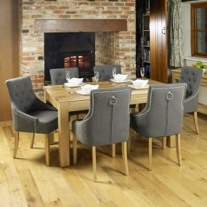 Mobel Extending Wooden Dining Table In Oak With 6 Vrux Slate Armchairs