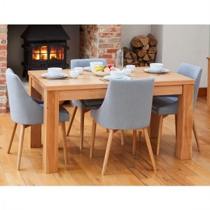 Mobel Large Wooden Dining Table In Oak With 4 Grey Vrux Chairs