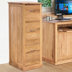 Mobel Wooden 3 Drawers Filing Cabinet In Oak
