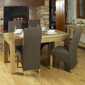 Mobel Wooden Dining Table In Oak With 4 Grey Chairs