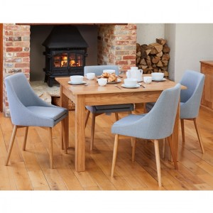 Mobel Wooden Dining Table In Oak With 4 Grey Vrux Chairs