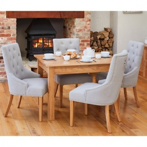 Mobel Wooden Dining Table In Oak With 4 Light Grey Armchairs