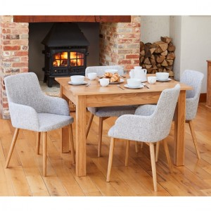 Mobel Wooden Dining Table In Oak With 4 Light Grey Vrux Chairs