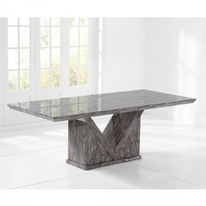 Mocha Large Rectangular Marble Dining Table In Grey