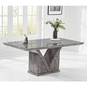 Mocha Rectangular Marble Dining Table In Grey