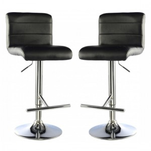Molly Black Faux Leather Bar Stools In Pair With Chrome Base