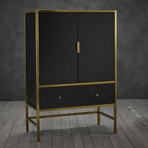 Monaco Black Marble Drinks Cabinet In Gold Metal Frame