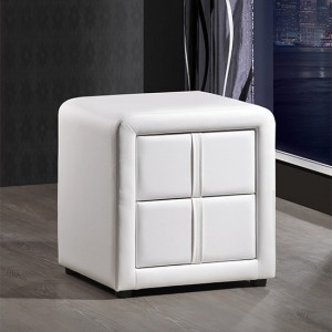 Monaco Faux Leather 2 Drawers Bedside Cabinet In White