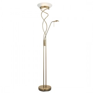 Monaco Frosted Glass Mother And Child Task Floor Lamp In Antique Brass
