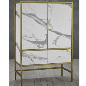 Monaco White Marble Drinks Cabinet In Gold Metal Frame