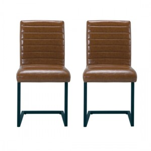 Montana Brown Faux Leather Dining Chairs In Pair