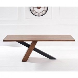 Montana Large Dining Table With Brushed Stainless Steel Black Legs