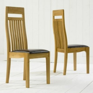 Monte Carlo Wooden Dining Chairs With Black Leather Seat In Pair