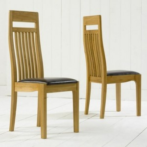Monte Carlo Wooden Dining Chairs With Brown Leather Seat In Pair