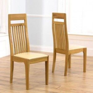 Monte Carlo Wooden Dining Chairs With Cream Leather Seat In Pair