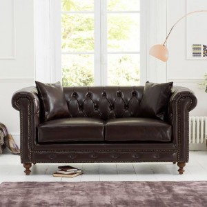 Montrose Faux Leather 2 Seater Sofa In Brown